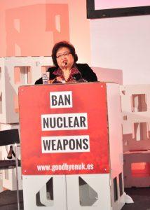 Setsuko bei ihrer Eröffnungsrede zum ICAN Civil Society Forum